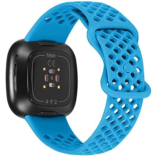 Correas Deportivas Compatible con Fitbit Versa 3 y Fitbit Sense Bandas, para Mujeres y Hombres, Correa de Repuesto de Silicona Suave y Duradera para Fitbit Versa 3 Bandas Fitbit Sense Bandas (L,5)