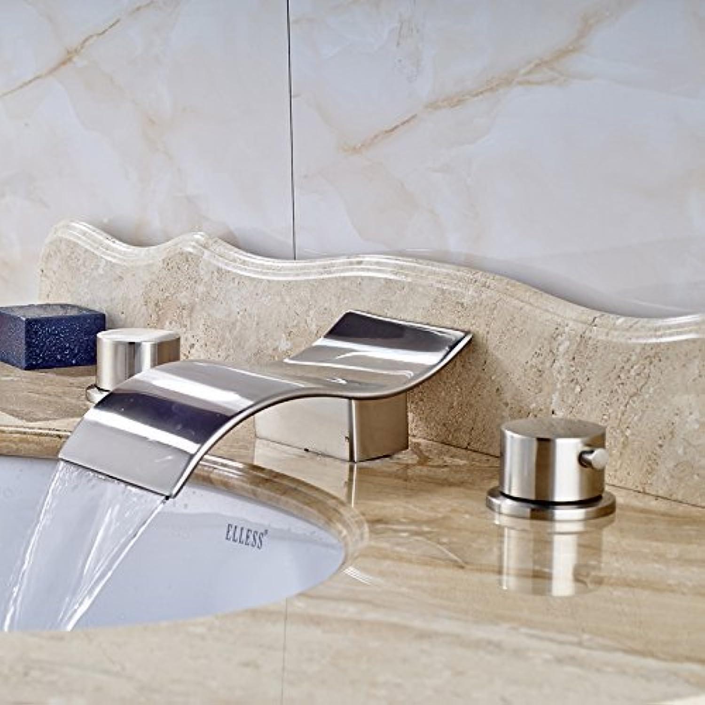 Gute Qualitt weit verbreitete Dual Griff Waschtisch Mischer Deck montiert 3 Lcher Nickel gebürstet Warmes und kaltes Tippen
