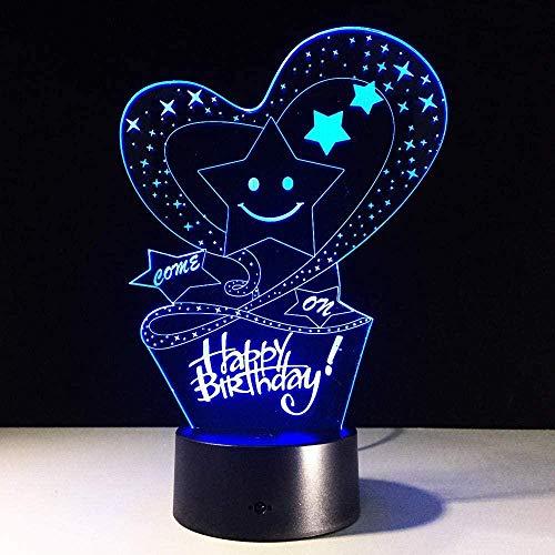 3D-Illusionslampe funUSB 7 Farbwechsel Party-Atmosphäre Touch Control Bedside Geburtstagslicht Geschenke Baby Dekoration Home Room Acryl Dekor-16 colors remote