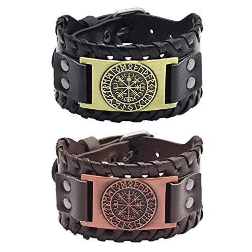 2 pulseras de cuero para hombre, estilo retro, anchas, de metal, color negro y marrón, estilo punk, pulseras de piel sintética para hombres, tamaño ajustable (pirata)