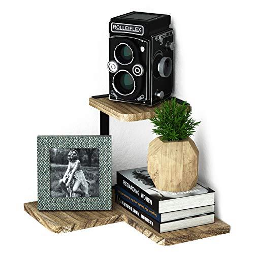 Estantes de esquina Love-Kankei, 2 estantes flotantes de pared de madera rústica, estantes de pared para dormitorio, salón, baño, cocina, oficina y más