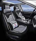 Fly YUTING Car Seat Cover, Avant et arrière 5 Places Ensemble Complet Laisse en Cuir Universel Pad Four Seasons Compatible avec Les protecteurs des sièges d'airbag,Gris