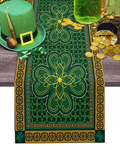 St. Patrick's Day Table Runner-Cotton linen-Small 36 inch, Retro Celtic Knots Lucky Clover Irish Tablerunner for Kitchen Coffee/Dining/End Table Bedroom Living Room,Scarfs Decor for Holiday Dinner
