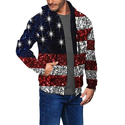 Sudadera con capucha para hombre y mujer, con cremallera, ilusivo por la naturaleza, con estampado en 3D, con capucha, sudadera con capucha y bolsillos, Bandera americana en negro con purpurina, XXL