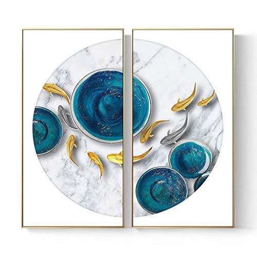 Shuanglian Piazza Porch Home Decoration Malerei Studio Esszimmer Wandfarbe Licht Atmosphere (Farbe: Gold M, Größe: 80 x 80 cm)