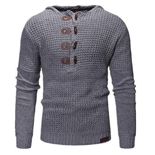 Zytyeu Sweater Herren Pullover Herren Sport Lässig Mode Knöpfe Langarm Frühling Und Herbst Elegante Bequeme Klassische Neue Herren Hoodies Herren Sweatshirt .C-Grey M