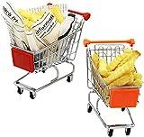 qiuqiu Set di 2 Mini Cestini da Portata per Mini Cestini per Snack a Forma di Carrello - Perfetti per Patatine, Fette, Anelli di Cipolla, Pollo, 2 Pezzi