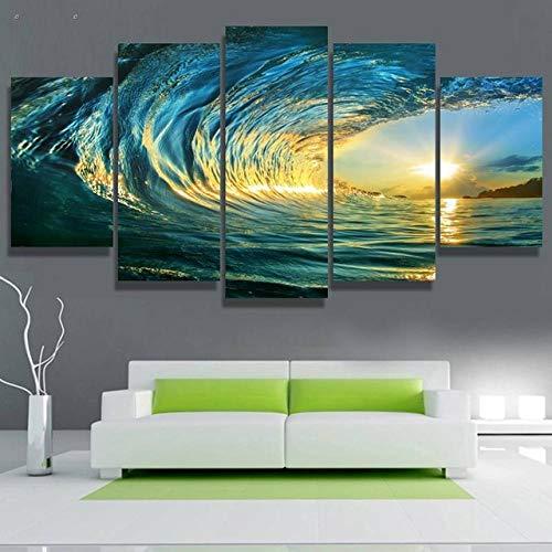 Cuadro en Lienzo Surf Olas mar Moderno Impresión de 5 Piezas Impresión Artística Imagen Gráfica Decoracion de Pared - Enmarcado