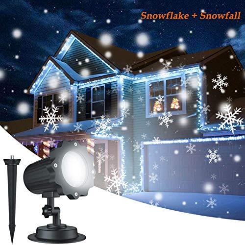 Projecteur LED Extérieur de Noël pour Façade, Éclairage des Flocons de Neige Étanche Idéal pour la Décorations de Noël, Halloween à la Façade de la Maison, au Jardin, sur le Plafond etc. (4)