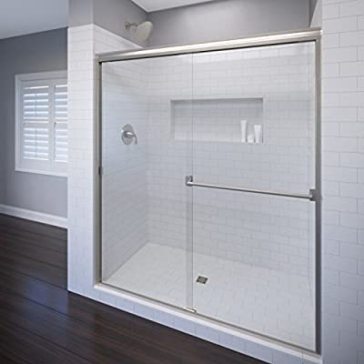 "Basco Classic 44"" to 47"" Frameless Sliding Shower Door 3/16"" obscure glass, silver finish 70"" height A0053-48OBSV"