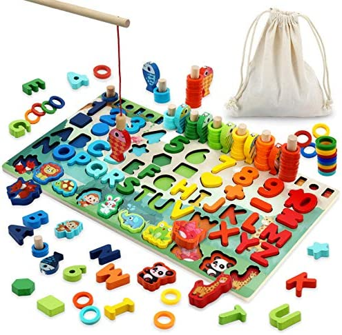 Wooden Number Puzzle Montessori Toys for Toddlers 3 4 5 6 Years Old Kids Montessori Counting product image