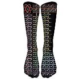 YuanHu Elementos de la Tabla periódica Negros Unisex Novedad Calcetines Premium Calcetines Deportivos Altos Medias de Tubo de Moda