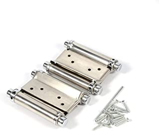 3 Inch Stainless Steel Double Action Spring Door Hinge for Saloon Cafe Door Shop Swing- Silver, 2Pcs