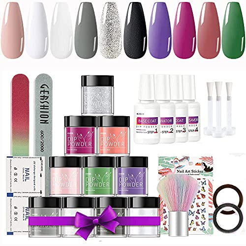 cbda lipsticks Gershion Dipping Powder Nail Starter Kit 10 Colors Acrylic Dipping Powder System Essential Kit for French Nail Manicure Nail Art Set No UV lamp Needed P-09
