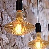 GBLY Bombilla LED grande, bombilla vintage E27 en forma de calabaza, 6W, blanco cálido 2200K, color dorado, bombilla decorativa se puede utilizar como luz colgante, 18 * 19cm