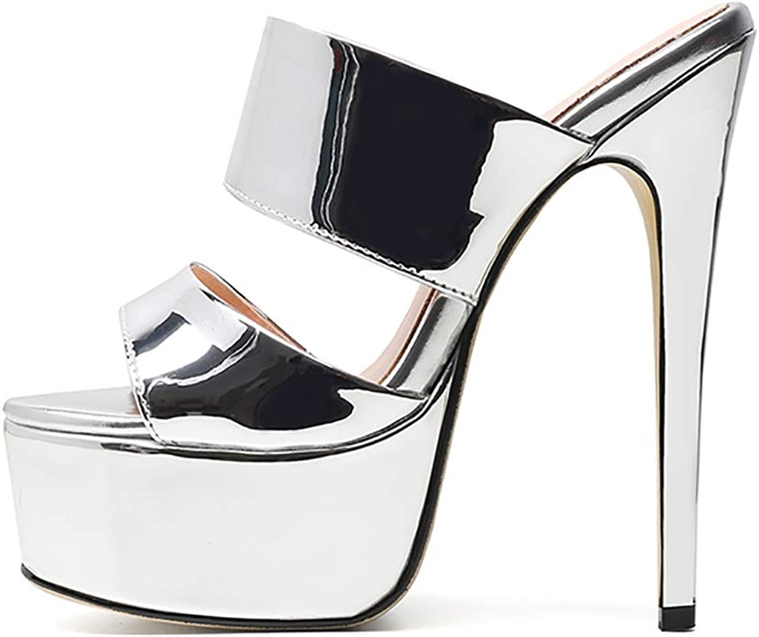 Women's Sandals, Super High Heel and Sexy Fish Mouth Wear Slippers in Multiple colors (color   Silver, Size   7 US)