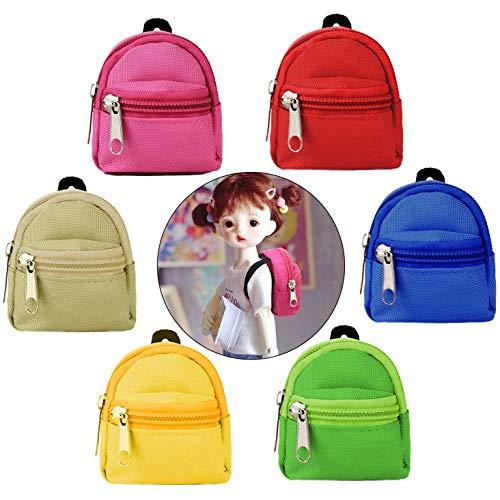 Fanspack Puppenrucksack 6 Stück, Puppenzubehör Mini Rucksack Puppentasche Canvas Reißverschluss Multicolor Puppen Rucksack Spielzeug für Kinder Geschenke BJD 18 Zoll Puppen …