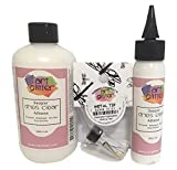 Art Institute Glitter Designer Dries Clear Adhesive Clear Glue Kit Bundle-3 Items 8oz,2oz and Metal Tip