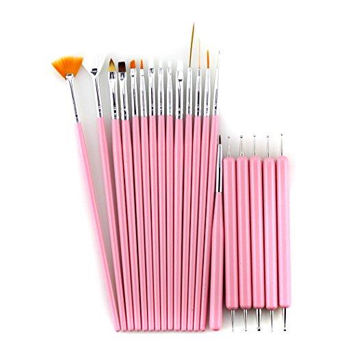 Glow 20 Piece Kit de pinceaux et d'outils de pointage pour ongles - Qualité Premium - Parfait pour les débutants et les professionnels - Kit pratique abordable avec manche en bois - Couleur rose