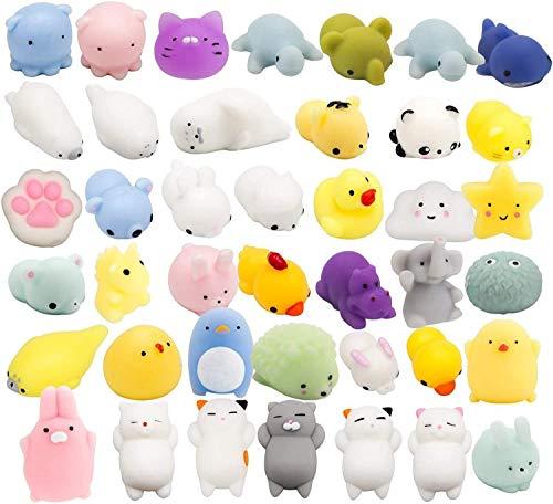 BeYumi 40 Stück Niedliches Animal Mochi Squeeze, Kawaii Mini Soft Tier Squeeze Spielzeug, Zappeln Handspielzeug für Kinder Geburtstagsgeschenk, Stressabbau, Partybevorzugung, Geschenktüte Füllstoffe
