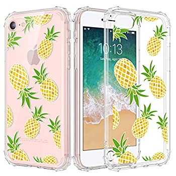 """Caka iPhone SE 2020 Case Clear Design iPhone 7 Case iPhone 8 Case Clear with Design Floral Clear Flowers Pattern for Girls Women Girly Slim Fit TPU Case for iPhone SE 2020 7 8 4.7""""- Pineapple"""