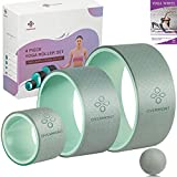 Overmont Yoga Rad Yoga Wheel Yoga-Starter-Set für Dharma Yoga Backbend Stretching Pilates Meditation Graublaugrün