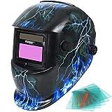 Yorbay Casco per saldatura solare, con oscuramento automatico della visiera, 5 vetri di ricambio, funzione per smerigliatura [in diversi modelli] (Skull, Lightning)