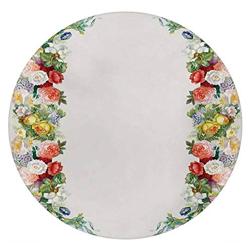LCGGDB Victorian 3D Decorative Window Clings,Rose Garland Pastel Tones Jasmine Cornflower Bouquet Classic Bloom Graphic Static Cling Window Decal for Home Office,Round 18'x18',Red Yellow Green