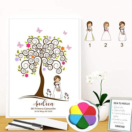 Didart Handmade Cuadro árbol de huellas niña comunión. Varios tamaños.Tintas e instrucciones incluidas. INVITACIONES y CARTEL, a juego,si lo deseas.MODELO MULTICOLOR