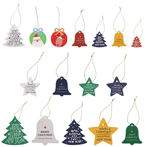 VORCOOL 34Pcs Papier Weihnachtsgeschenkanhänger mit Schnur DIY Weihnachtsfeiertagsgeschenkverpackungsstempelsternbaumglocke Hängen Etikett Paketname Warenanhänger