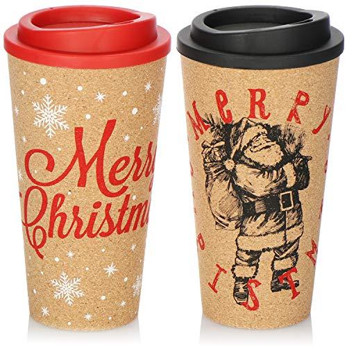 com-four Juego de Vasos para Beber de 2 Piezas con Corcho, Tazas aislantes resellables con Motivos navideños, 500 ml para Mantener Las Bebidas Calientes (Conjunto 1 - Feliz Navidad y Santa Claus)