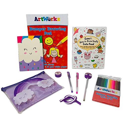 Juego de dibujo para niños – Kawaii: Cómo dibujar realmente lindo libro de comida, bloc A4, lápices y estuche: Amazon.es: Hogar