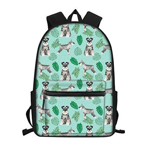 Nopersonality Backpack Travel School Bookbags Shoulder Laptop Daypack Schnauzer Leaves College Bag 15.6 Inch for Womens Girls Teenagers (Green)