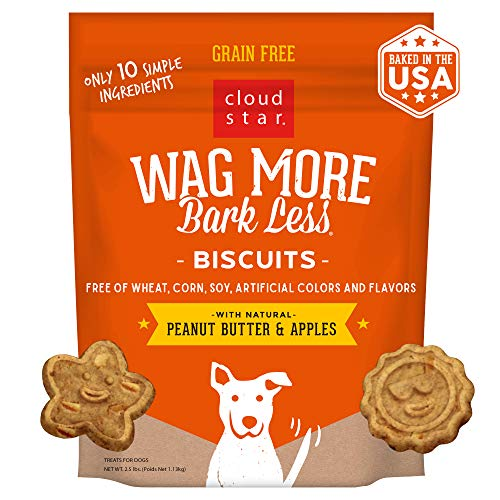 Cloud Star Wag More Bark Less Oven Baked Biscuits, Grain Free Crunchy Dog Treats, Peanut Butter & Apples - 2.5 lb.