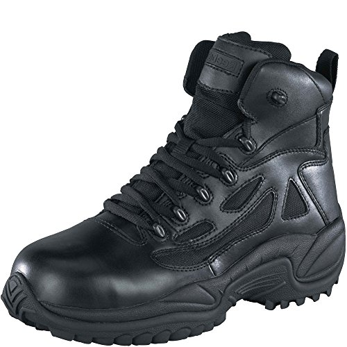 "Reebok Women's Stealth 6"" Lace-Up Side Zip Work Boot Composite Toe Black 7.5 EE US"