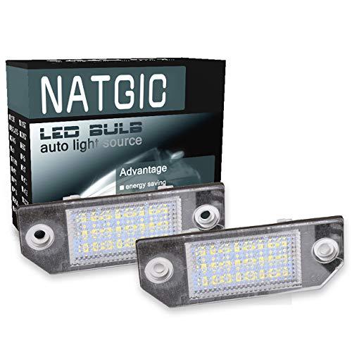 NATGIC 1 Paire 24 SMD LED Plaque d'immatriculation Lumière Intégrée Can-Bus étanche Numéro de LED Plaque d'immatriculation Lampe Assemblée 12V 2W - 6000K Blanc