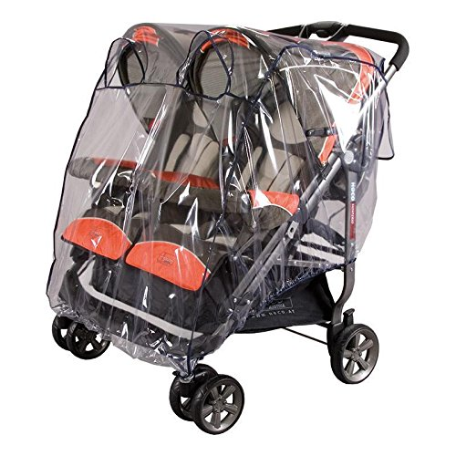 sunnybaby 13193 - Universal Regenverdeck, Regenschutz für ZWILLINGS-Buggy mit Dach & ZWILLINGS-Sportwagen | mit zwei Kontaktfenstern f. optimale Luftzirkulation | glasklar | Qualität: MADE in GERMANY