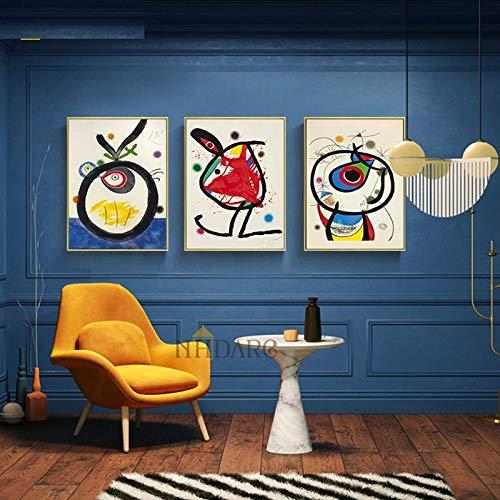 ValerieMantz Stampe su Tela Poster e Dipinti Miro Stile Astratto Classico Colore Decor Wall Art Picure 3 Pannelli per Soggiorno Decorazioni per la casa