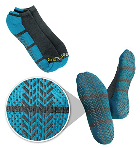 Men's & Women's Blue No-Slip No Show Grip Tread Hospital & Yoga Socks