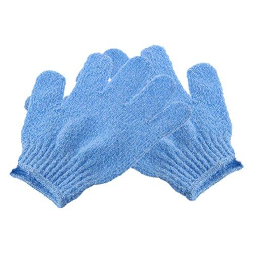 ultnice 2pcs Dusche Peeling-Handschuhe Mitt Peeling Körper Bürste Nylon Waschlappen für Männer Frauen Kinder Blau