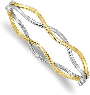 10k White Gold Rhodium Polished Twisted Bangle Bracelet