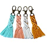 CHICIEVE 4 Pcs Colorful Tassel Bag Charm Boho Key Chain Macrame Key Chains Handmade for Boho Macrame Bag Charms Car Key Purse Phone Wallet Wedding Gift