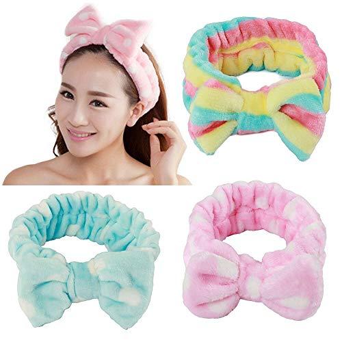 3 stuks strik hoofdband voor meisjes vrouwen mooie zachte carol elastische hoofdband haar wrap make-up bands douche hoofdband (roze, blauw en regenboogkleur)
