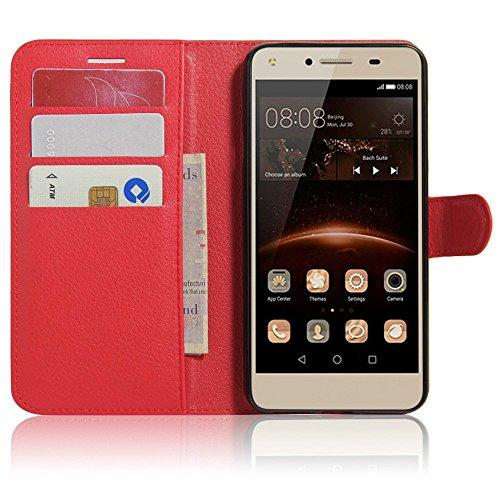 SMTR Huawei Y5II / Huawei Y5 2 Wallet Tasche Hülle - Ledertasche im Bookstyle in Rot - [Ultra Slim][Card Slot][Handyhülle] Flip Wallet Hülle Etui für Huawei Y5II / Huawei Y5 2