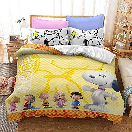 XWXBB Juego de funda de edredón Snoopy, juego de cama con dibujos animados 3D, diseño digital de dibujos animados, juego de tres piezas, funda de edredón y funda de almohada (08, King 220 x 240 cm)