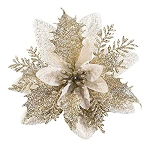 RAILONCH 12 Pcs Christmas Glitter Poinsettia Flowers Artificial Flowers Glitter Christmas Tree Deco New Year Ornaments
