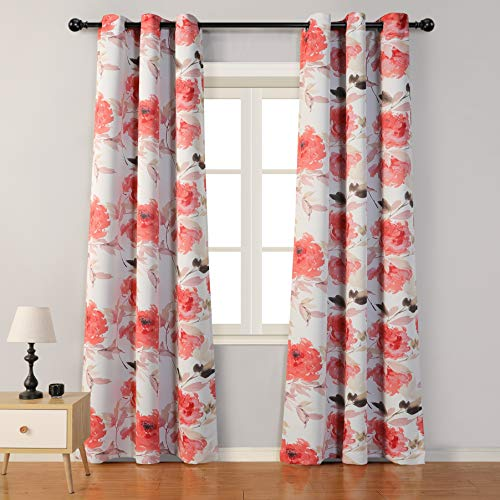 """MYSKY HOME Printed Floral Curtains 84 Inch Length,Light Filtering Room Darkening Insulated Thermal Grommet Curtain Panels for Living,Bedroom,Patio Door,42"""" W x 84"""" L,(Red, 1 Pair)"""