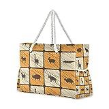 Bolsas de playa grandes Totes de lona Bolsa de hombro Vintage Patrón de cuadros con animales salvajes africanos Bolsas resistentes al agua para el gimnasio viajes diarios