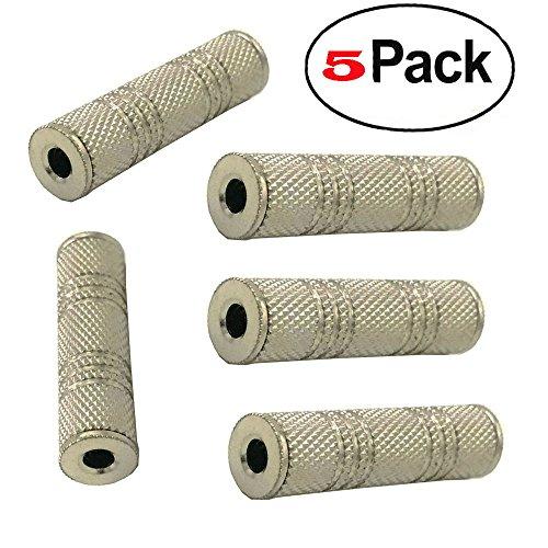 3.5mm Stereo Coupler Female/Female Audio Coupler - 5 Pack