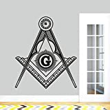 sanzangtang Símbolo masónico diseño Arte Etiqueta de la Pared brújula masónica Vinilo Etiqueta,63x73cm